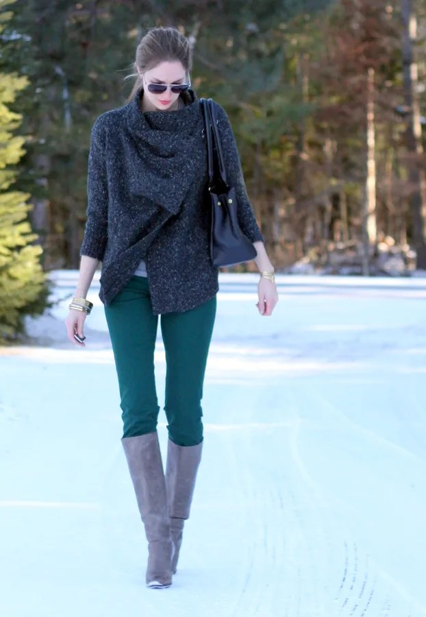 grey boots green pants