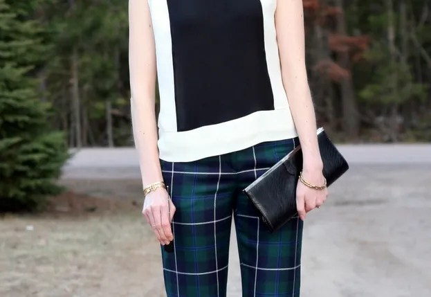 j.crew silk colorblock blouse and plaid pants