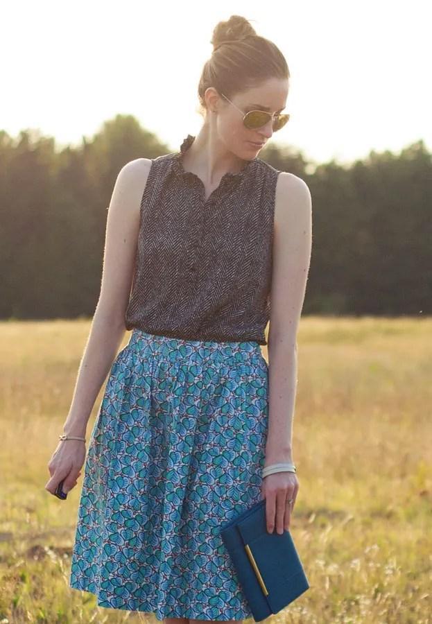 Laura Wears...J.Crew patio skirt and ruffle neck top