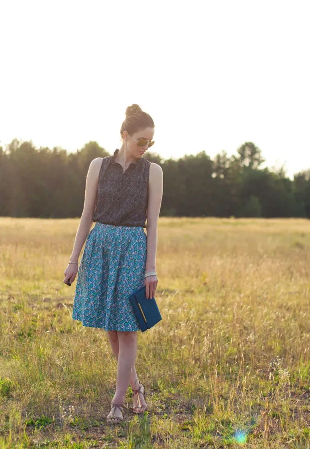 Laura Wears... J.Crew floral printed cotton midi patio skirt
