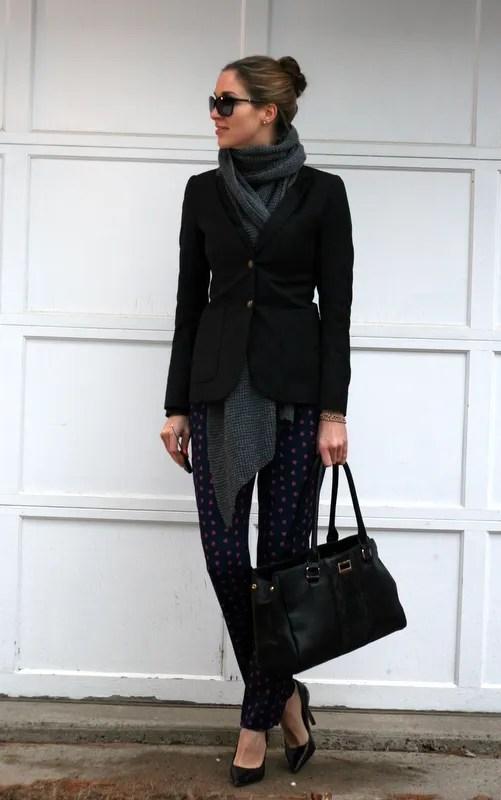 foulard pants hacking blazer chunky scarf workwear business