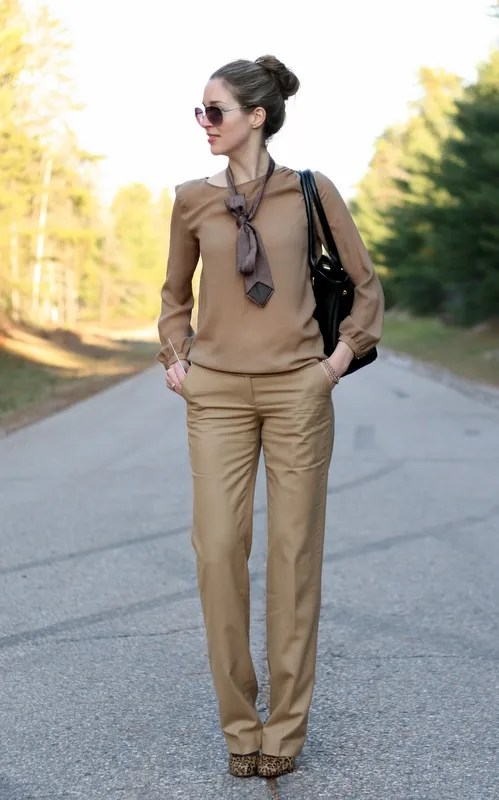 taupe monochrome outfit autumn