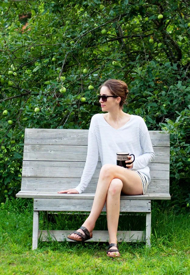 Laura Wears ... gap stripe cotton linen sweater
