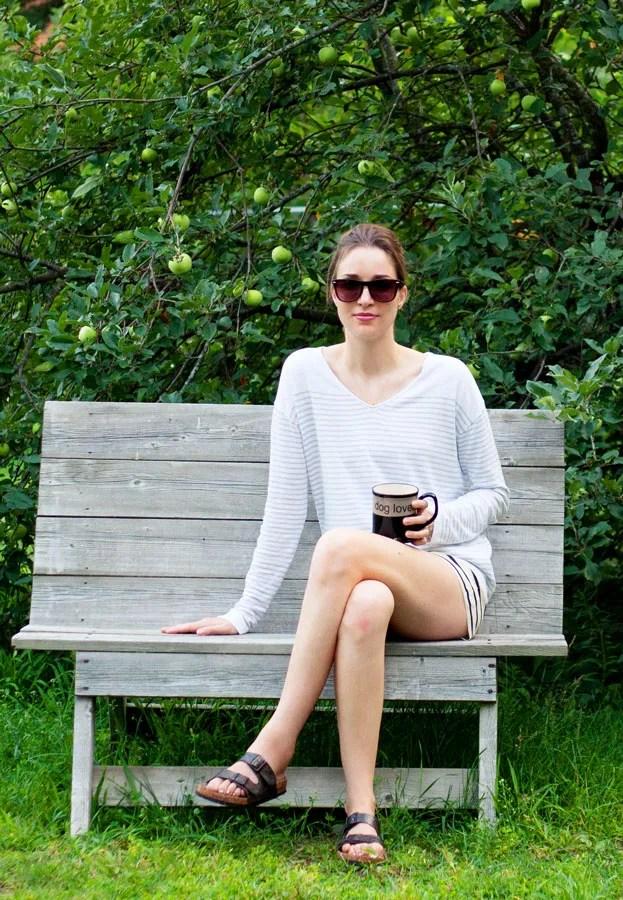 Laura Wears ... Joe Fresh stripe silk short