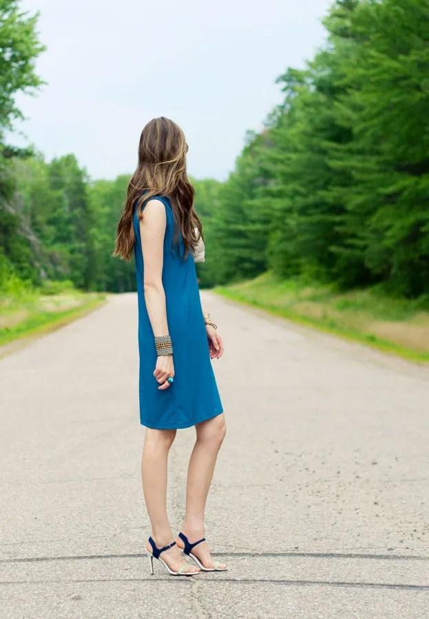 Laura Wears ... turquoise homemade shift dress