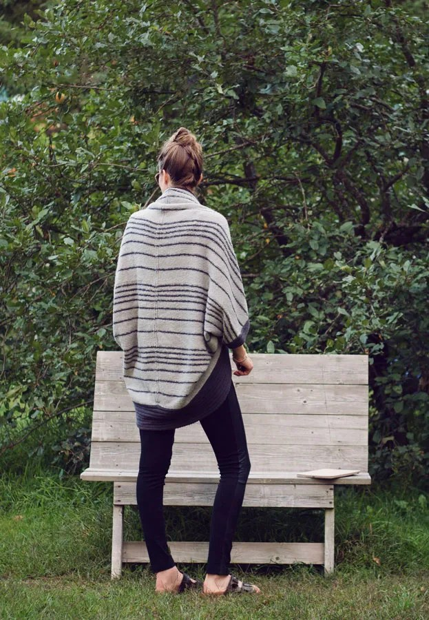 A Closet Full of Clothes... cocoon sweater tuxedo stripe leggings