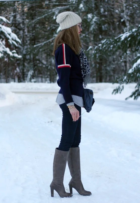 canadian winter vintage ski sweater skinny jeans