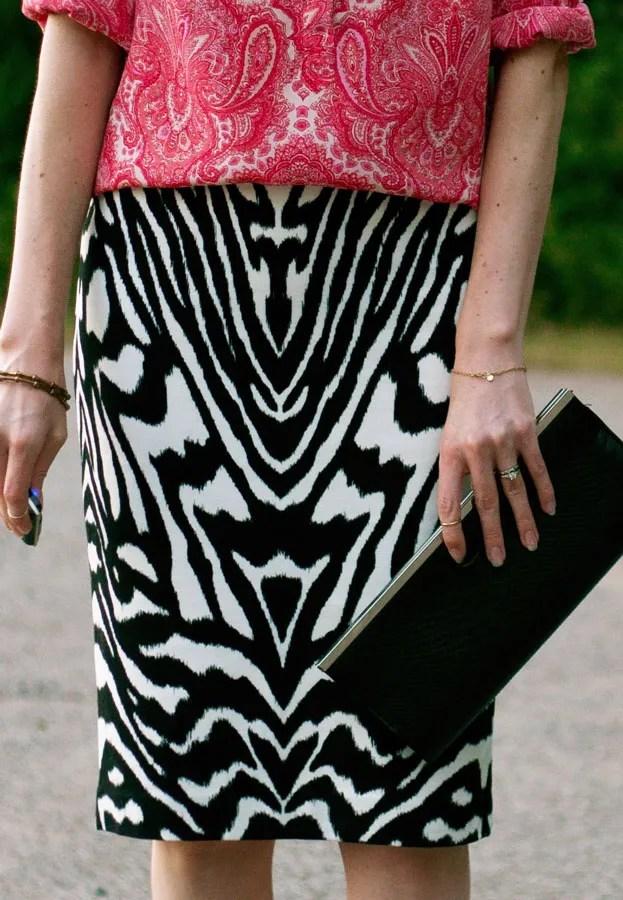 A Closet Full of Clothes... zebra knit pencil skirt
