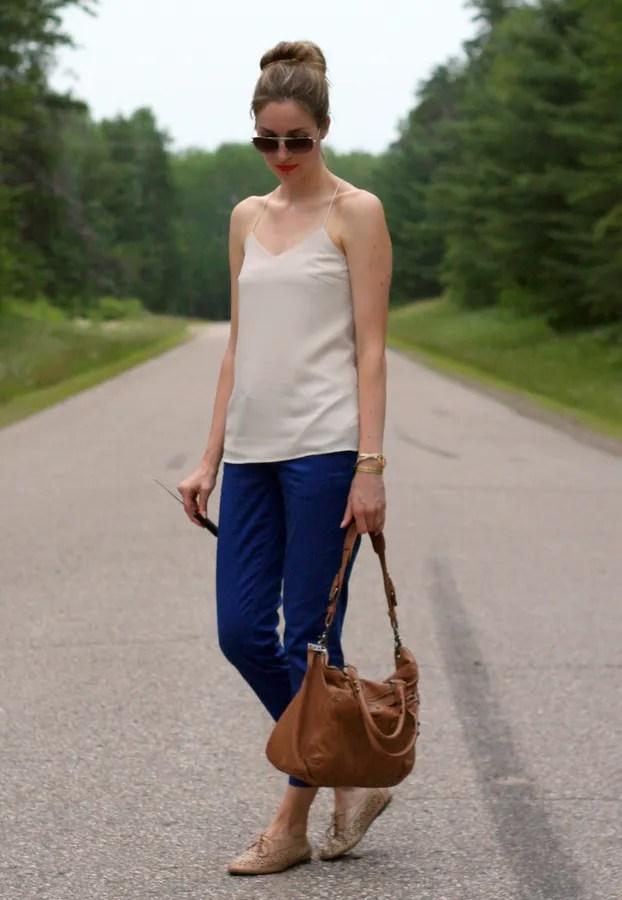 tank top blouse beige oxfords
