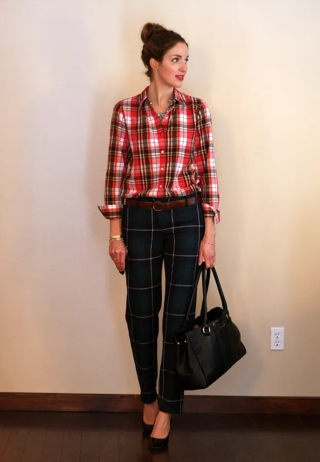 plaid on plaid outfit personal style