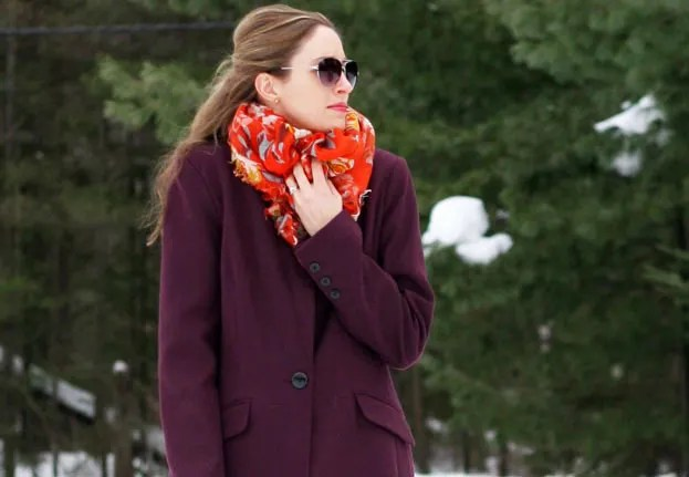 burgundy and orange winter scarf
