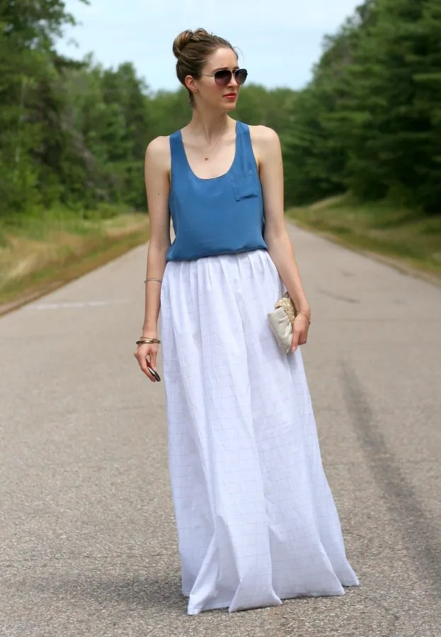 white maxi skirt and blue silk tank