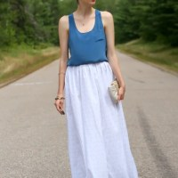 White maxi skirt & silk tank