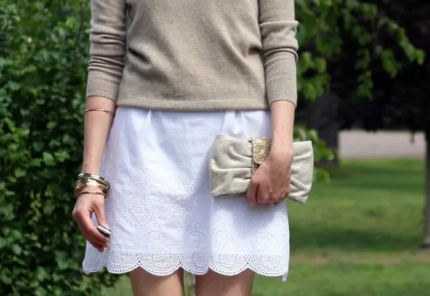 beige cashmere sweater white cotton summer dress