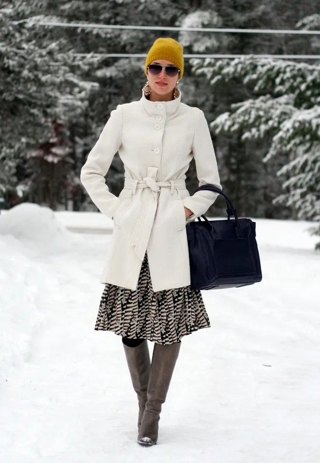 canadian winter outfit belted wool coat