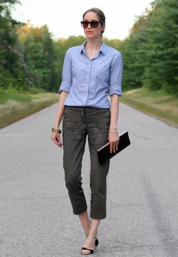 chambray shirt printed pants