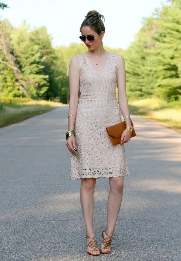 beige ivory lace dress v neck