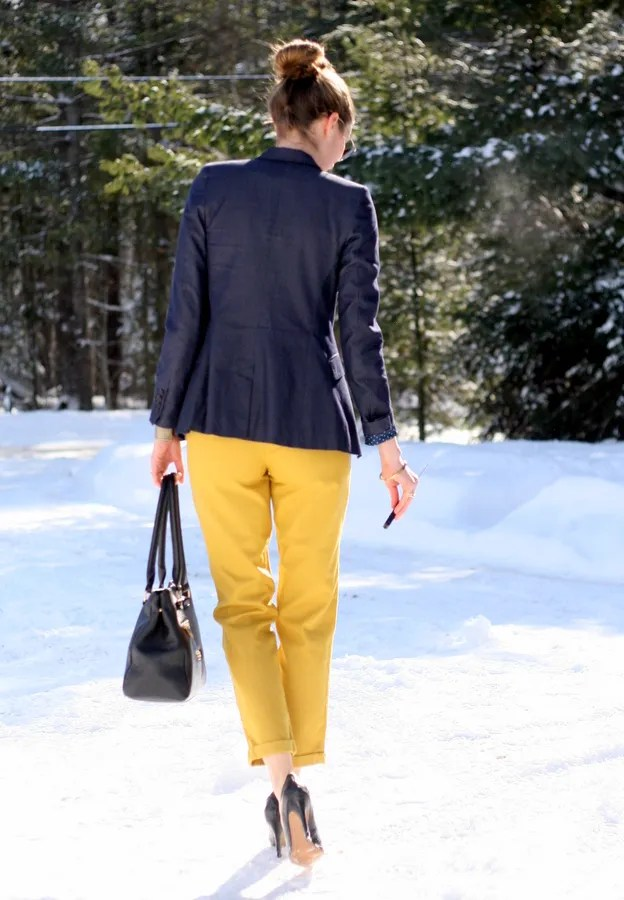 navy and yellow winter look