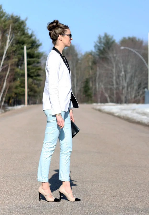 Gap light blue khaki tuxedo blazer