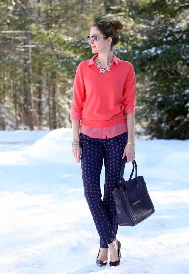 winter outfit j.crew sweater foulard pants