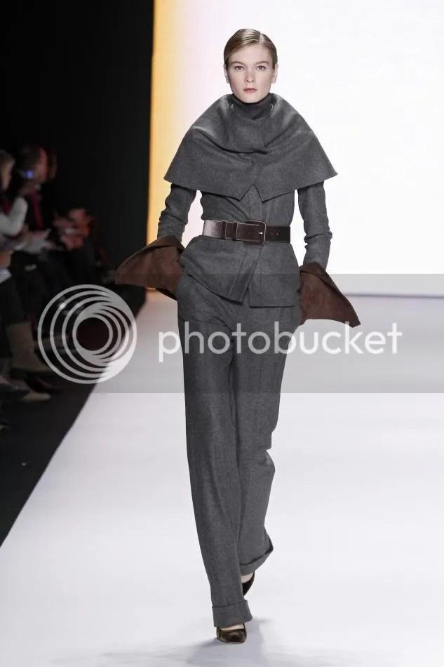 3. Irina K: Dark gray wool flannel caplet jacket, dark gray wool trouser, cocoa velvet belt, cocoa suede gloves