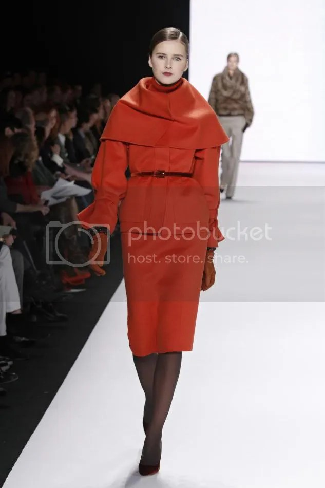 21. Lisanne de Jong: Jasper red flannel caplet jacket, jasper red flannel pencil skirt, rust velvet belt, rust embroidered gloves.