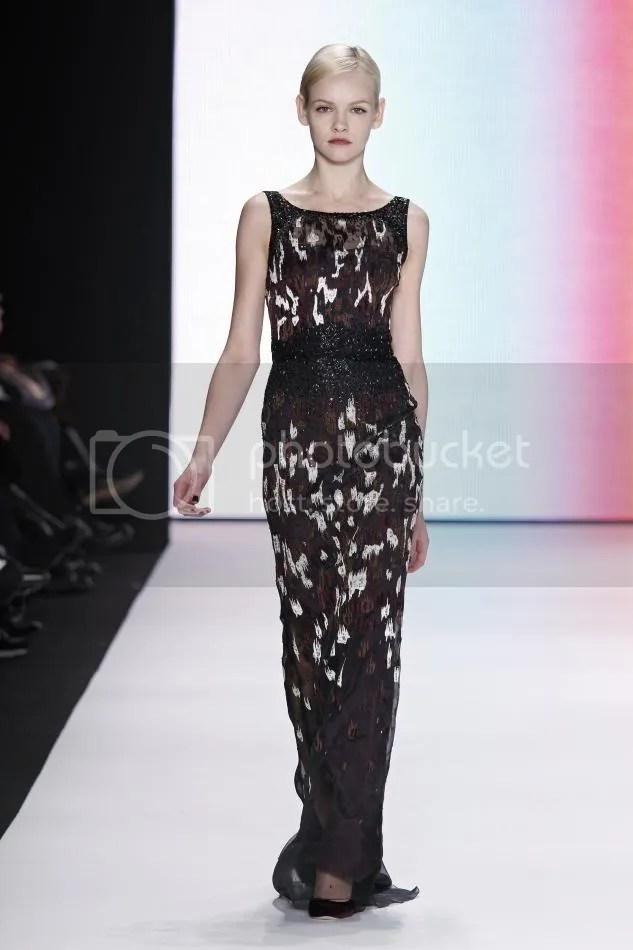 31. Ginta Lapina: Amethyst, cocoa, and bone flocked embroidered gown.