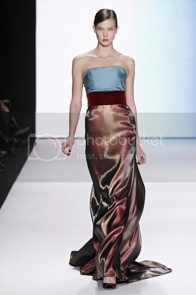 36. Kalie: Turquoise silk faille and amethyst liquid striped strapless gown.
