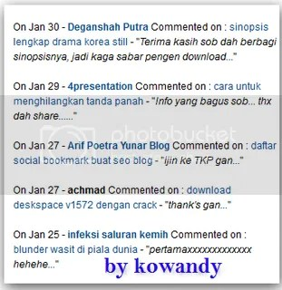 recent komen ala wordpress