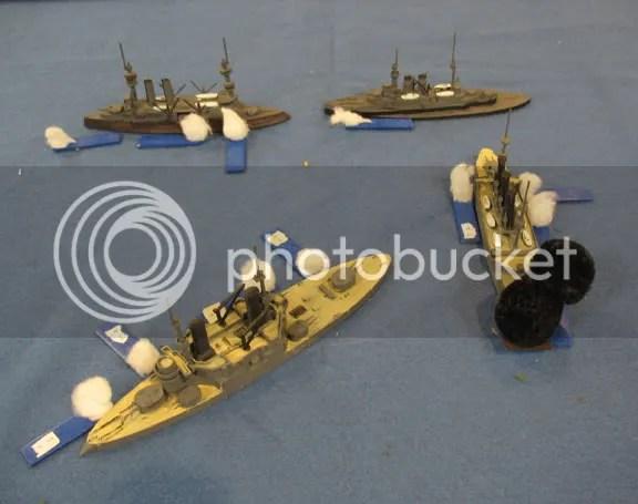 French and Russian ships engage at close range