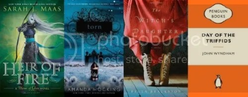The covers of Heir of Fire, Torn, The Witch's Daughter, and Day of the Triffids