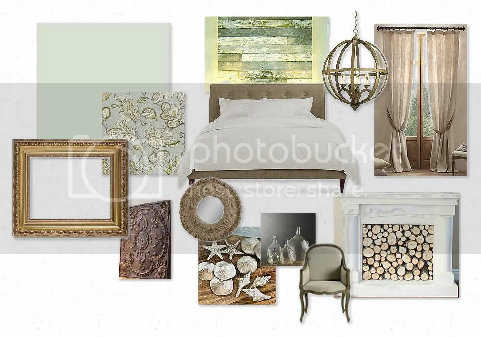 mood board of master bedroom