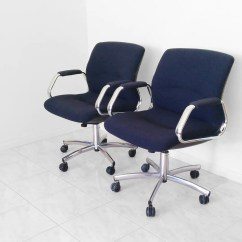 Navy Office Chair Black Wood Dining Chairs Vtg Steelcase Blue Chrome Pollock Shell Swivel