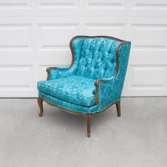 Turquoise Wingback Chair Fold Up Chairs Bunnings Vtg French Hollywood Regency Satin Brocade