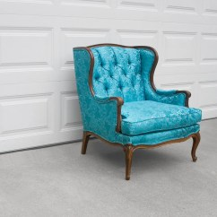 Turquoise Wingback Chair Patio Cushions Canada Vtg French Hollywood Regency Satin Brocade