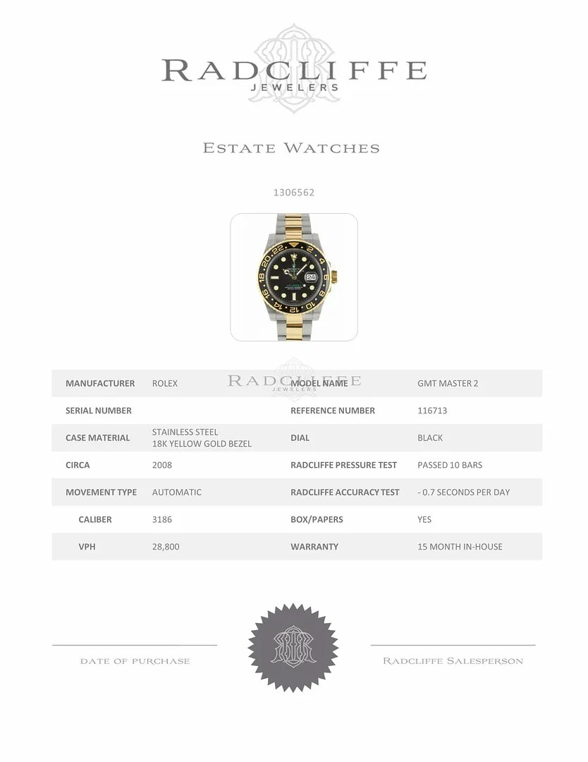 WatchNet: Luxury Time => FS- Rolex 116713 GMT Master II M