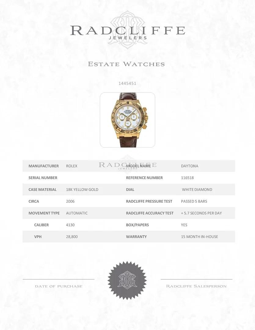 FS- Rolex 116518 D Cosmograph Daytona White Diamond Dial