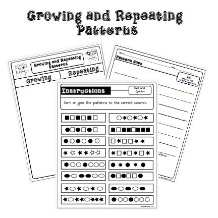 Repeating and Growing Pattern Sort by The Lesson Plan Diva
