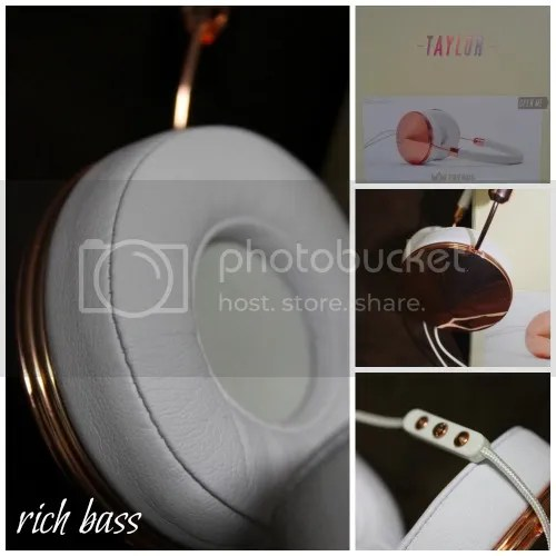 If you're looking for a fashionable pair of over ear headphones, the Taylor Rose Gold set is beautiful with great bass!
