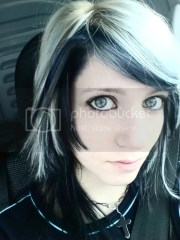 emo girl with white hair and blue