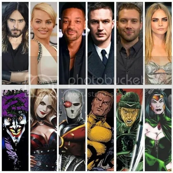 The cast of Warner Bros. upcoming Suicide Squad, starring Will Smith, Jared Leto, and Tom Hardy.