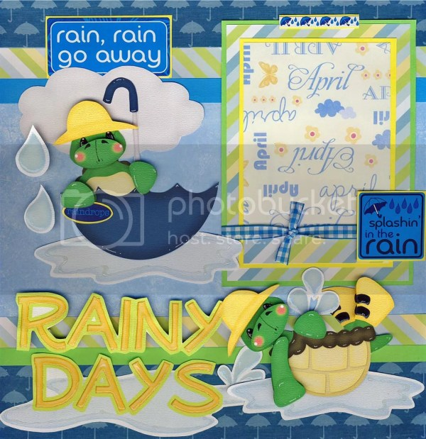 RAINY DAYS spring 2 Premade Scrapbook Pages Paper
