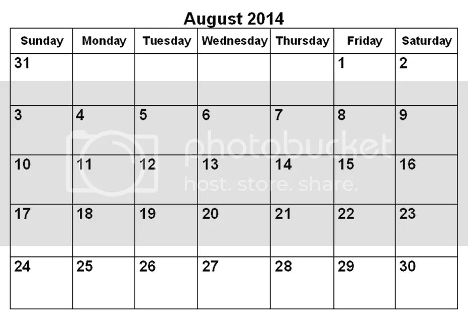 August 2014 Special month with 5 Fridays , 5 Saturdays and ...