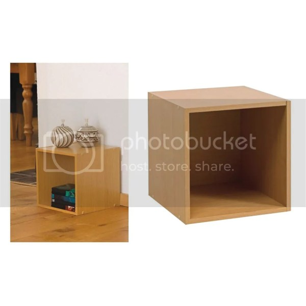 Beech Wooden Storage Cube Box Side Table Cupboard Cabinet