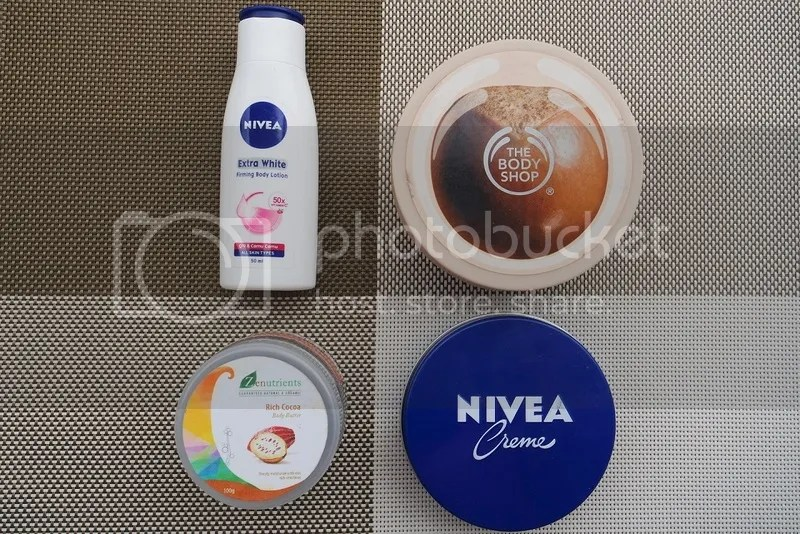 Clockwise from Top-Left: Nivea Extra White Firming Body Lotin, The Body Shop Shea Body Butter, Nivea Creme, Zenutrients Rich Cocoa Body Butter