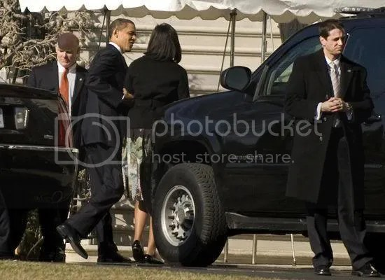 The Obamas arrive back at the White House after attending the prayer service at the National Cathedral...