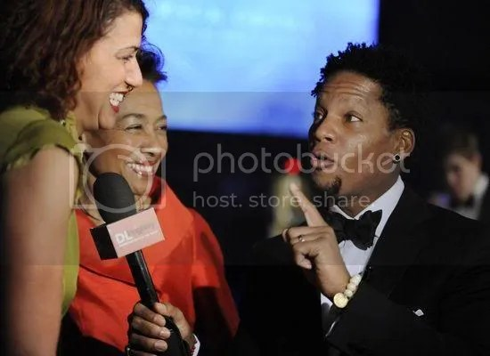 D.L. Hughley interviews partygoers at the Neighborhood Inaugural Ball...
