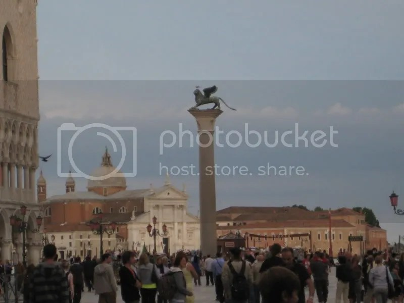 The symbol of St. Mark (the lion with wings) is all over St. Marks Square. . .