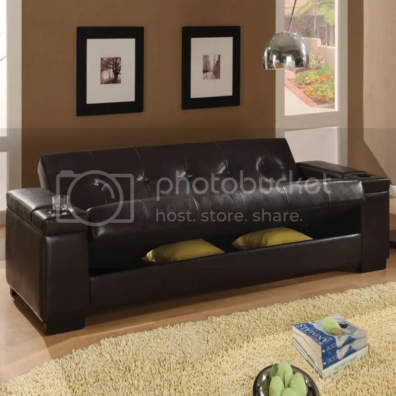 futon sleeper chairs black farmhouse table and dark brown faux leather storage sinuous spring base couch sofa bed | ebay