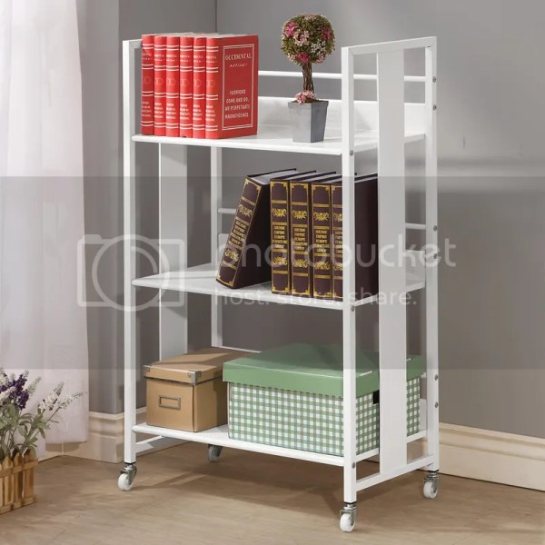 White Black Metal Bookcase Bookshelf Display Storage